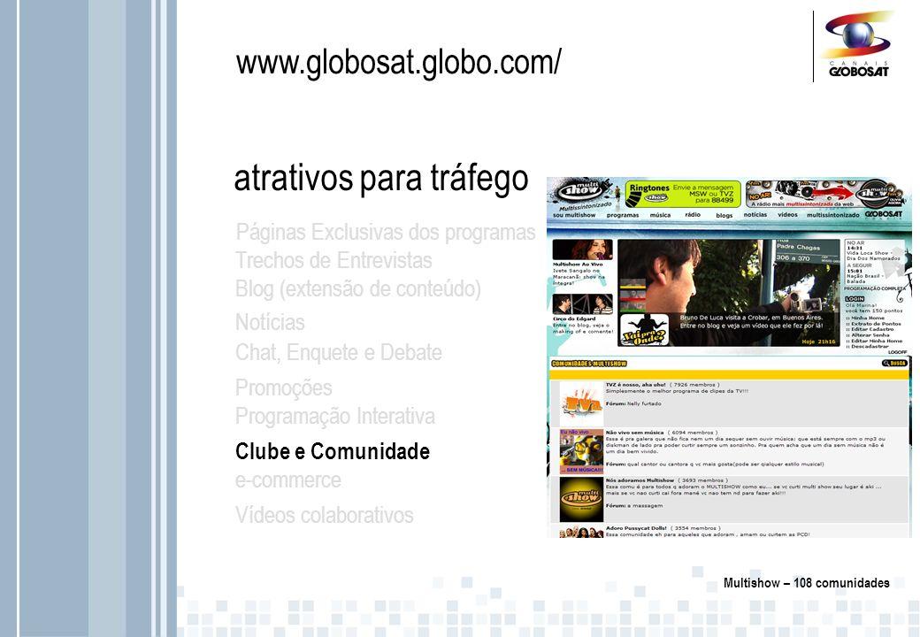 www.globosat.globo.com/ atrativos para tráfego Páginas Exclusivas dos programas Trechos de Entrevistas Blog (extensão de conteúdo) Notícias Chat, Enquete e Debate Promoções Clube e Comunidade e-commerce Vídeos colaborativos Programação Interativa Através de cadastro, informações do assinante são segmentadas com base em preferências de conteúdo.