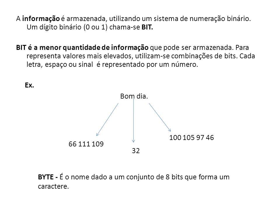 A informação é armazenada, utilizando um sistema de numeração binário. Um dígito binário (0 ou 1) chama-se BIT. BIT é a menor quantidade de informação