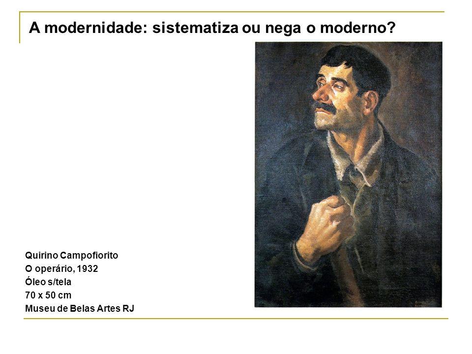 Quirino Campofiorito O operário, 1932 Óleo s/tela 70 x 50 cm Museu de Belas Artes RJ A modernidade: sistematiza ou nega o moderno?