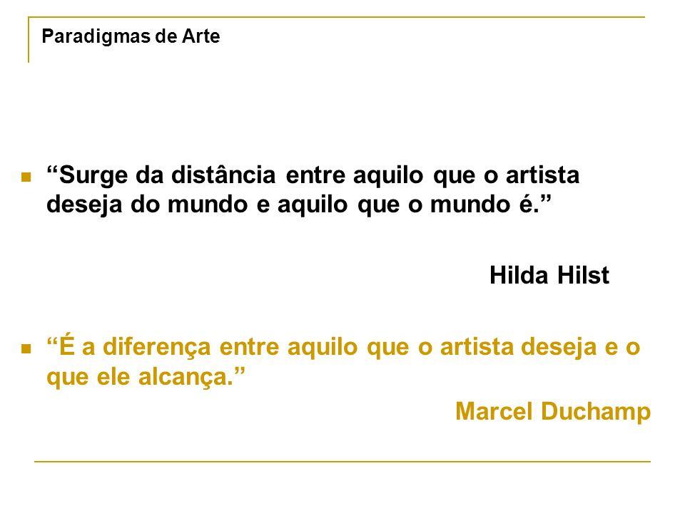 Paradigmas de Arte Surge da distância entre aquilo que o artista deseja do mundo e aquilo que o mundo é. Hilda Hilst É a diferença entre aquilo que o