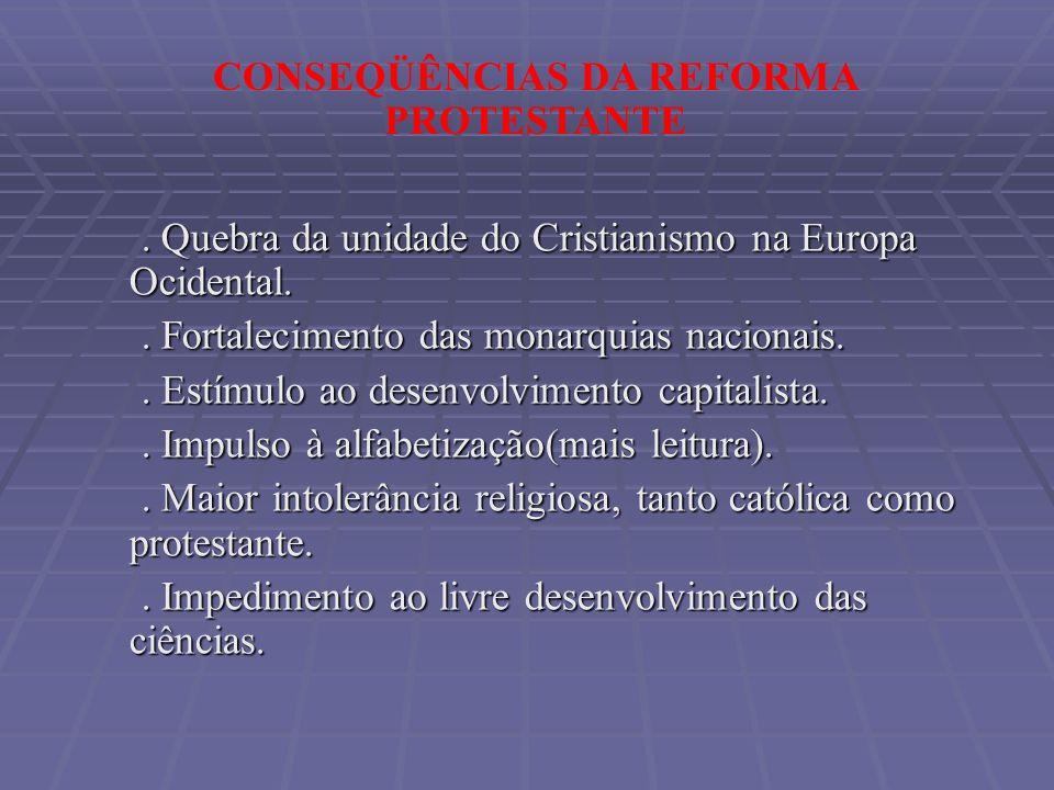 . Quebra da unidade do Cristianismo na Europa Ocidental.. Quebra da unidade do Cristianismo na Europa Ocidental.. Fortalecimento das monarquias nacion