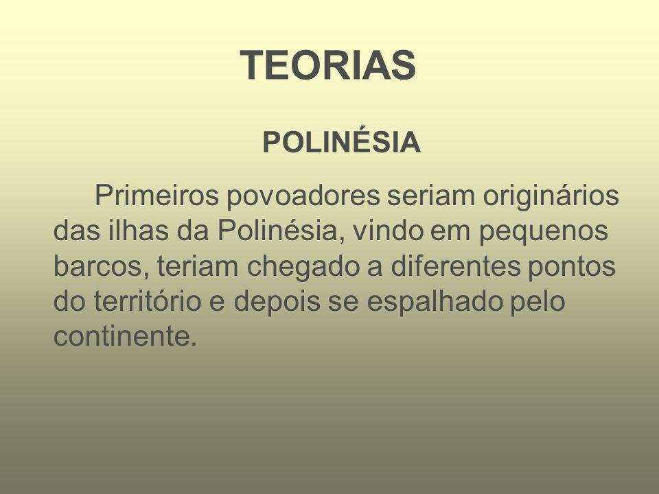TEORIAS POLINÉSIA Primeiros povoadores seriam originários das ilhas da Polinésia, vindo em pequenos barcos, teriam chegado a diferentes pontos do terr