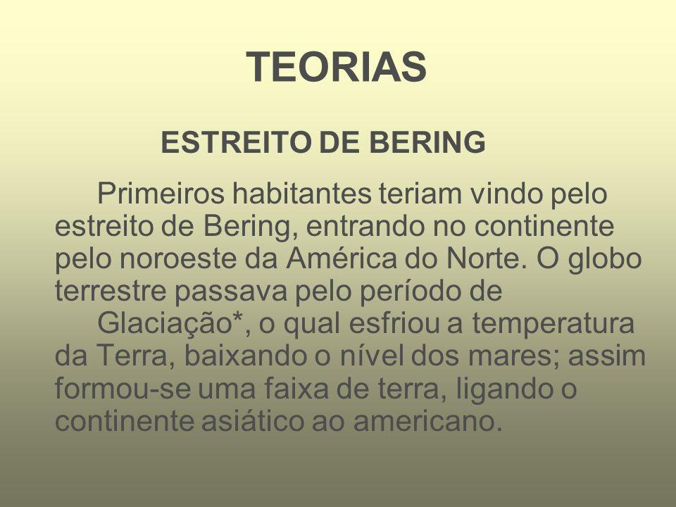 ESTREITO DE BERING Primeiros habitantes teriam vindo pelo estreito de Bering, entrando no continente pelo noroeste da América do Norte. O globo terres