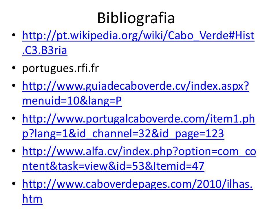 Bibliografia http://pt.wikipedia.org/wiki/Cabo_Verde#Hist.C3.B3ria http://pt.wikipedia.org/wiki/Cabo_Verde#Hist.C3.B3ria portugues.rfi.fr http://www.g