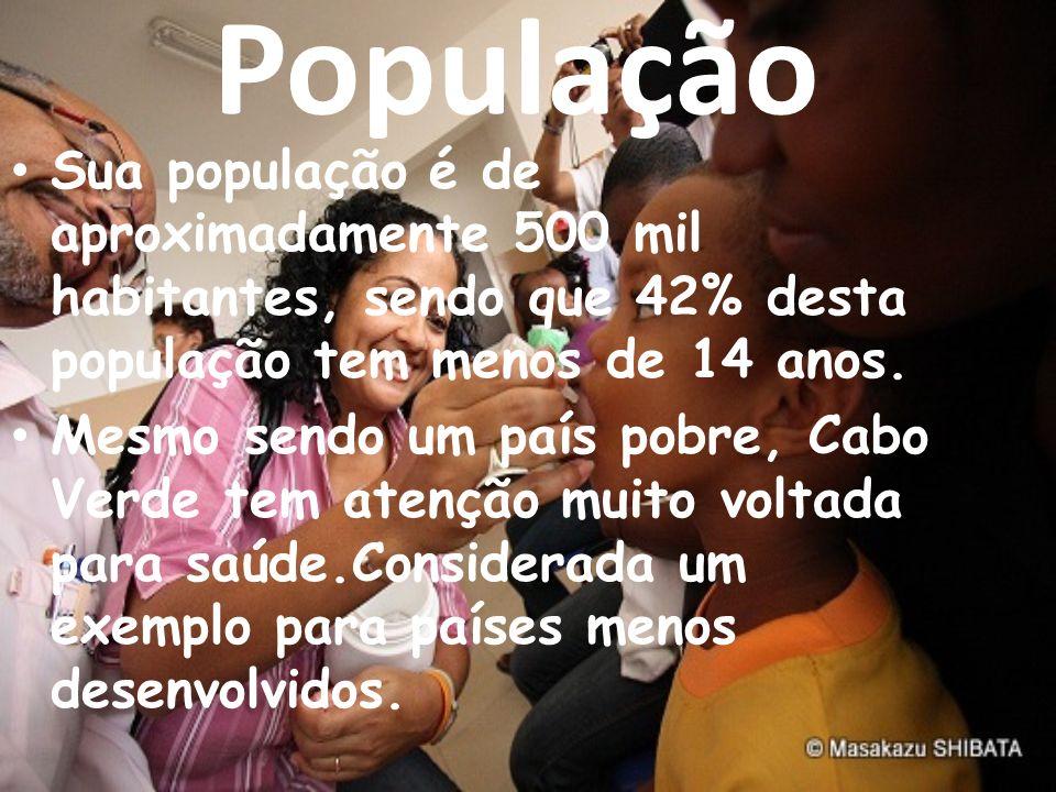 População Sua população é de aproximadamente 500 mil habitantes, sendo que 42% desta população tem menos de 14 anos. Mesmo sendo um país pobre, Cabo V