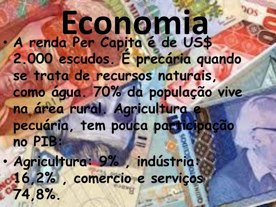 Economia A renda Per Capita é de US$ 2.000 escudos. É precária quando se trata de recursos naturais, como água. 70% da população vive na área rural. A