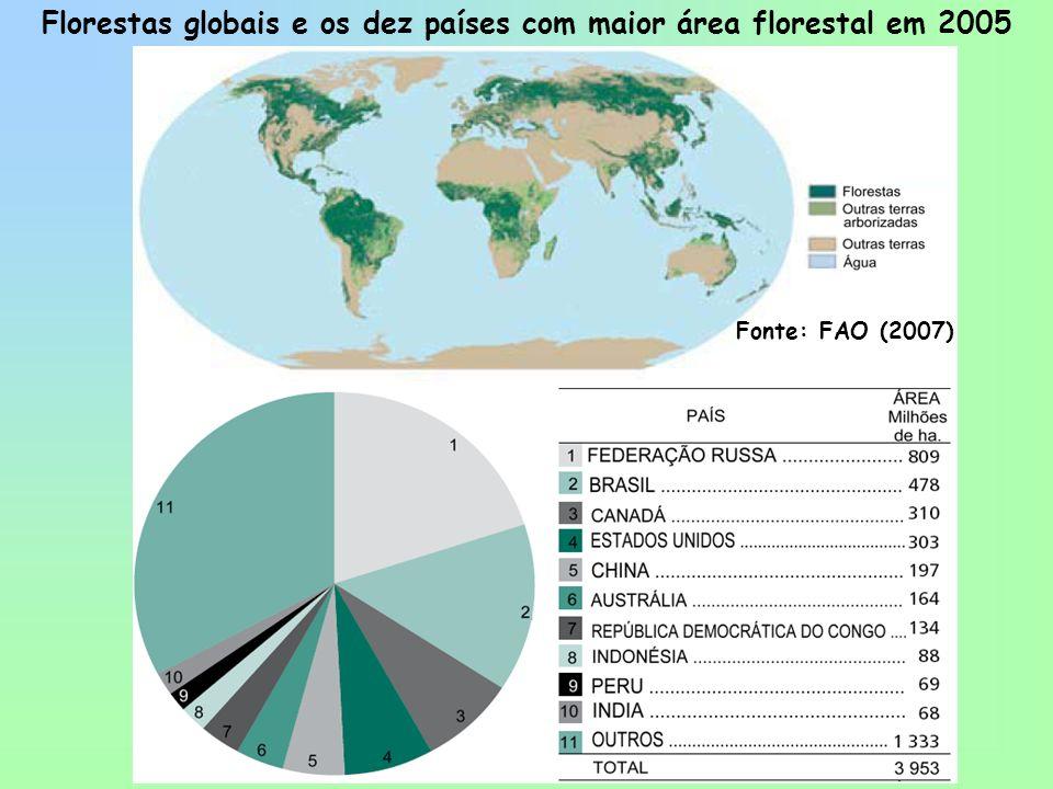 Fonte: FAO (2007) Florestas globais e os dez países com maior área florestal em 2005
