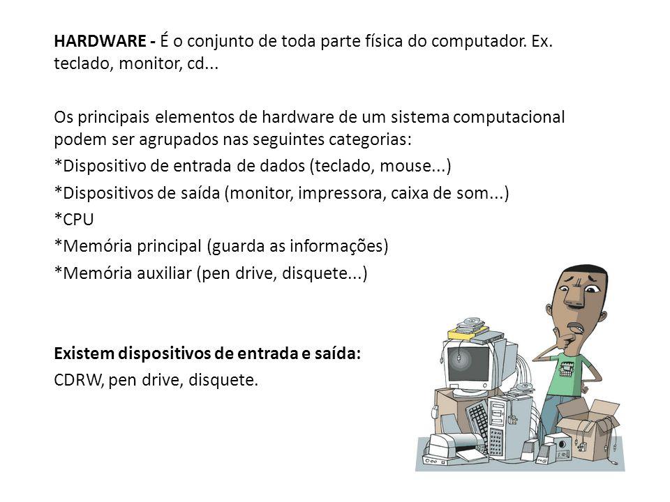 HARDWARE - É o conjunto de toda parte física do computador. Ex. teclado, monitor, cd... Os principais elementos de hardware de um sistema computaciona
