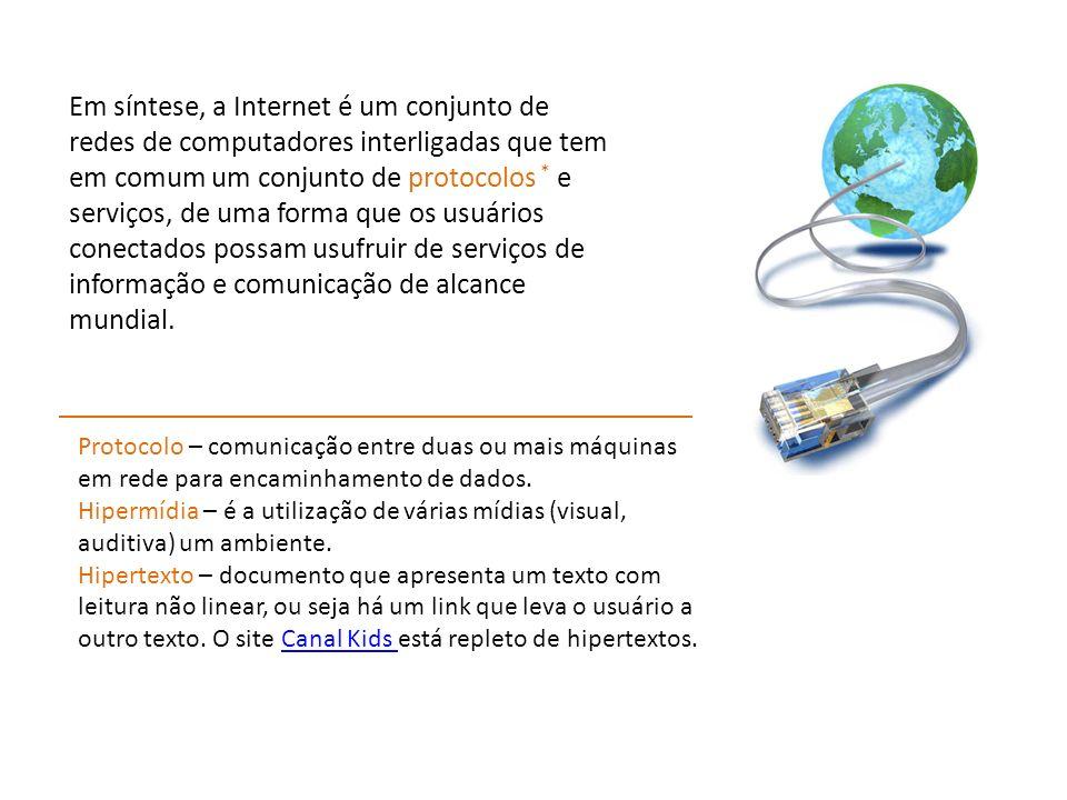 Em síntese, a Internet é um conjunto de redes de computadores interligadas que tem em comum um conjunto de protocolos * e serviços, de uma forma que o