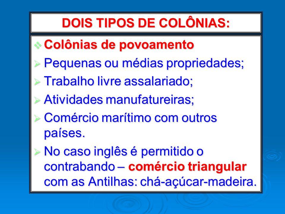 DOIS TIPOS DE COLÔNIAS: Colônias de povoamento Colônias de povoamento Pequenas ou médias propriedades; Pequenas ou médias propriedades; Trabalho livre