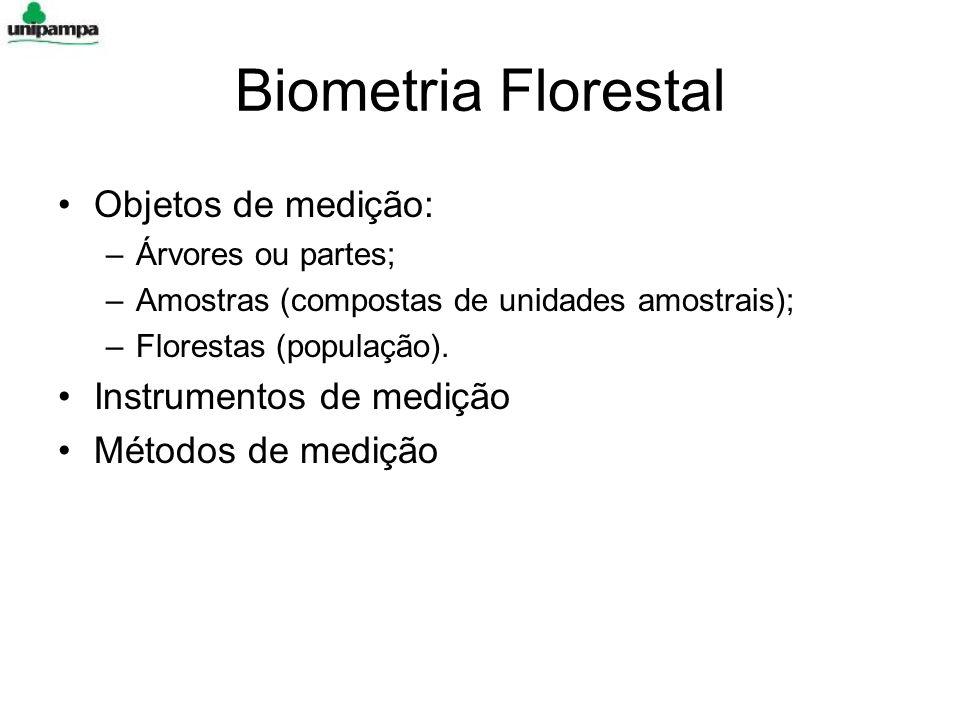 Biometria Florestal Objetos de medição: –Árvores ou partes; –Amostras (compostas de unidades amostrais); –Florestas (população). Instrumentos de mediç