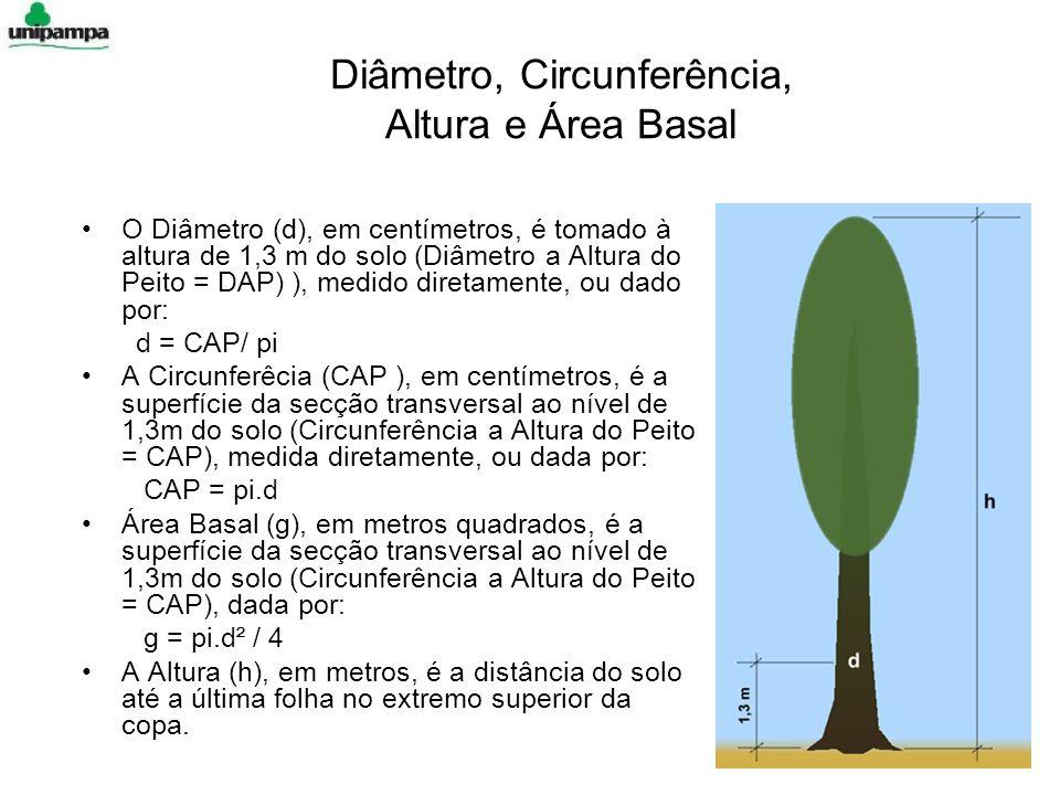 Diâmetro, Circunferência, Altura e Área Basal O Diâmetro (d), em centímetros, é tomado à altura de 1,3 m do solo (Diâmetro a Altura do Peito = DAP) ), medido diretamente, ou dado por: d = CAP/ pi A Circunferêcia (CAP ), em centímetros, é a superfície da secção transversal ao nível de 1,3m do solo (Circunferência a Altura do Peito = CAP), medida diretamente, ou dada por: CAP = pi.