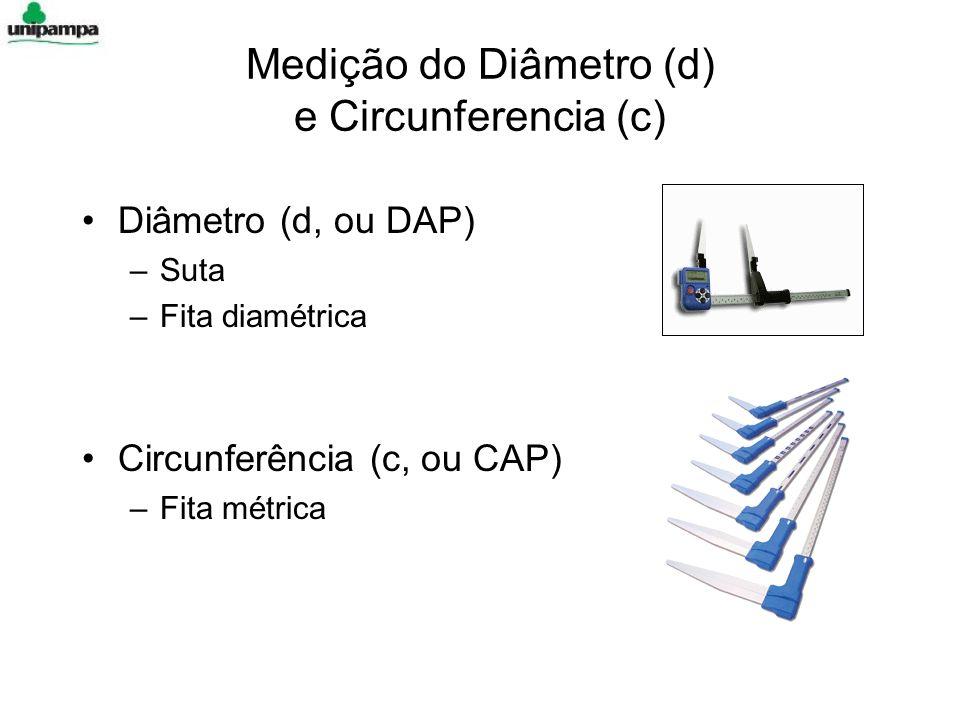 Medição do Diâmetro (d) e Circunferencia (c) Diâmetro (d, ou DAP) –Suta –Fita diamétrica Circunferência (c, ou CAP) –Fita métrica