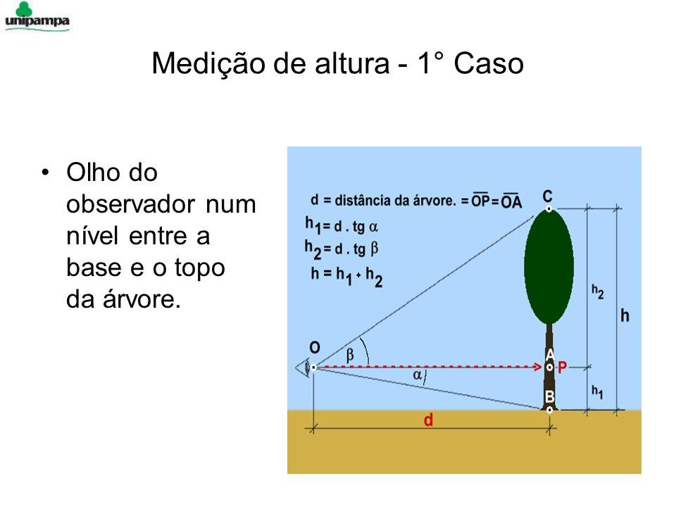 Olho do observador num nível entre a base e o topo da árvore. Medição de altura - 1° Caso