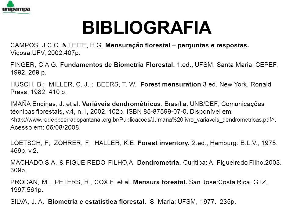 BIBLIOGRAFIA CAMPOS, J.C.C. & LEITE, H.G. Mensuração florestal – perguntas e respostas. Viçosa:UFV, 2002.407p. FINGER, C.A.G. Fundamentos de Biometria