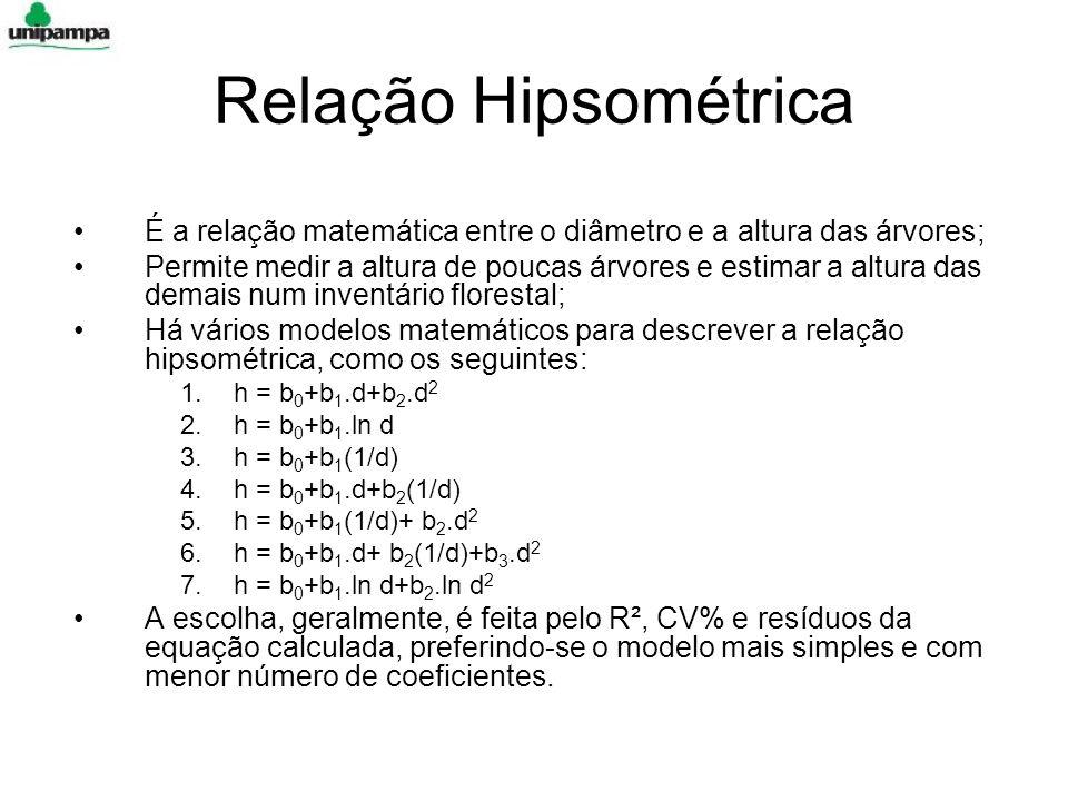 Relação Hipsométrica É a relação matemática entre o diâmetro e a altura das árvores; Permite medir a altura de poucas árvores e estimar a altura das demais num inventário florestal; Há vários modelos matemáticos para descrever a relação hipsométrica, como os seguintes: 1.h = b 0 +b 1.d+b 2.d 2 2.h = b 0 +b 1.ln d 3.h = b 0 +b 1 (1/d) 4.h = b 0 +b 1.d+b 2 (1/d) 5.h = b 0 +b 1 (1/d)+ b 2.d 2 6.h = b 0 +b 1.d+ b 2 (1/d)+b 3.d 2 7.h = b 0 +b 1.ln d+b 2.ln d 2 A escolha, geralmente, é feita pelo R², CV% e resíduos da equação calculada, preferindo-se o modelo mais simples e com menor número de coeficientes.