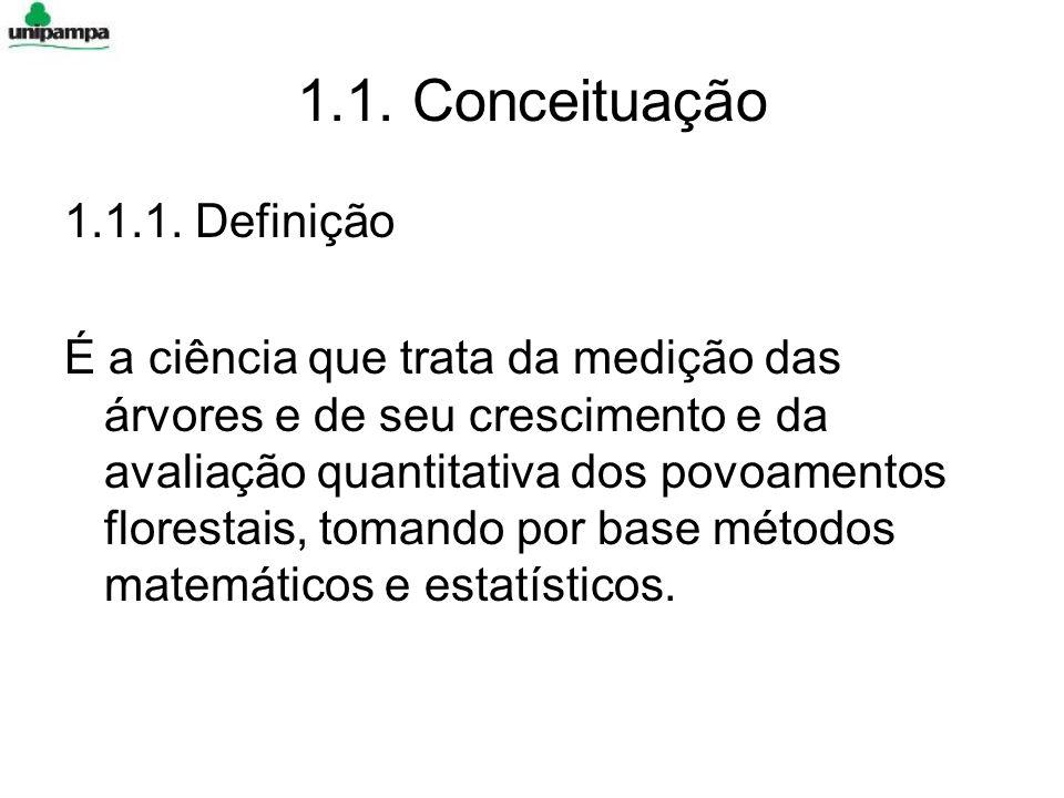 1.1. Conceituação 1.1.1. Definição É a ciência que trata da medição das árvores e de seu crescimento e da avaliação quantitativa dos povoamentos flore