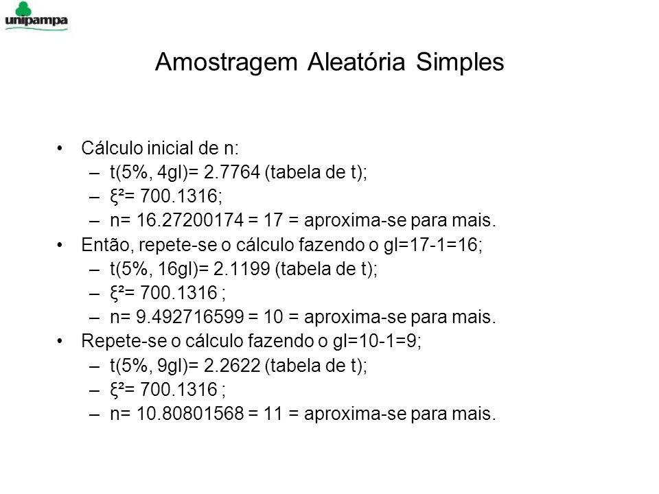 Amostragem Aleatória Simples Cálculo inicial de n: –t(5%, 4gl)= 2.7764 (tabela de t); –ξ²= 700.1316; –n= 16.27200174 = 17 = aproxima-se para mais.