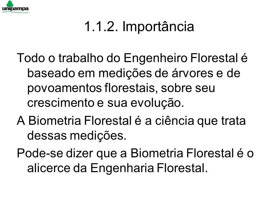 1.1.2. Importância Todo o trabalho do Engenheiro Florestal é baseado em medições de árvores e de povoamentos florestais, sobre seu crescimento e sua e