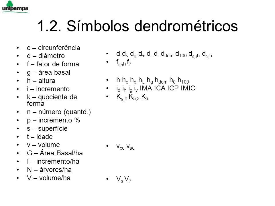 1.2. Símbolos dendrométricos c – circunferência d – diâmetro f – fator de forma g – área basal h – altura i – incremento k – quociente de forma n – nú