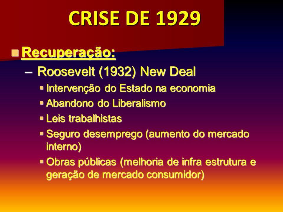 CRISE DE 1929 Recuperação: Recuperação: – Roosevelt (1932) New Deal Intervenção do Estado na economia Intervenção do Estado na economia Abandono do Li