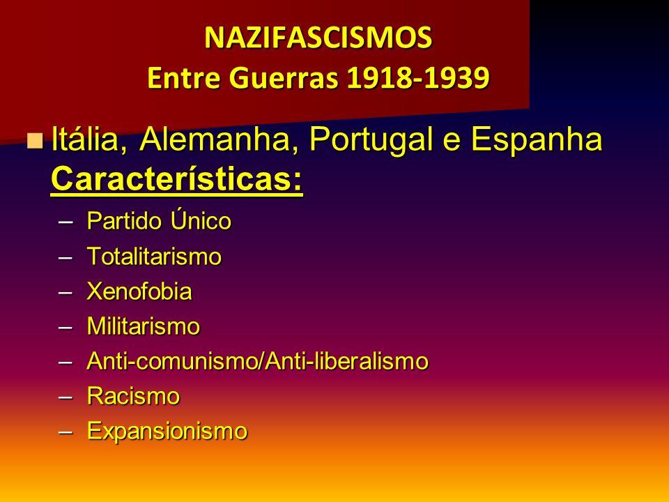 NAZIFASCISMOS Entre Guerras 1918-1939 Itália, Alemanha, Portugal e Espanha Características: Itália, Alemanha, Portugal e Espanha Características: – Pa
