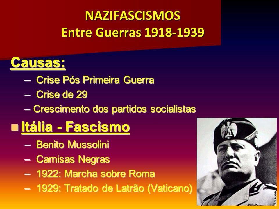 NAZIFASCISMOS Entre Guerras 1918-1939 Causas: – Crise Pós Primeira Guerra – Crise de 29 –Crescimento dos partidos socialistas Itália - Fascismo Itália