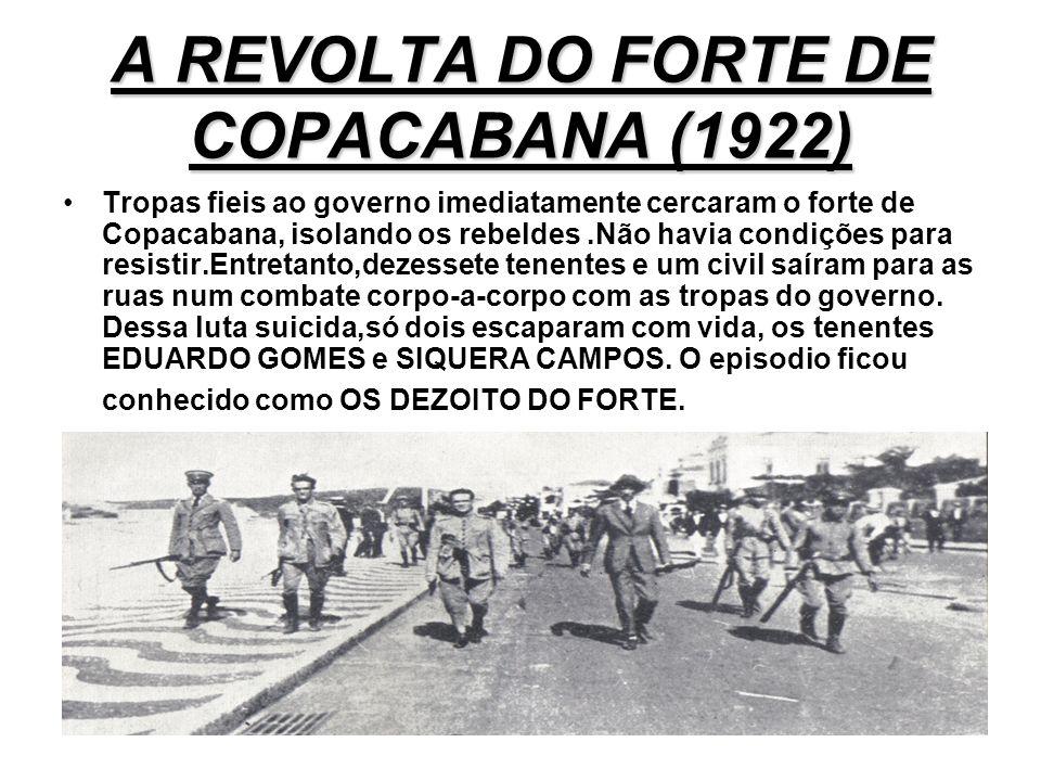 A REVOLTA DO FORTE DE COPACABANA (1922) A PRIMERA REVOLTA TENENTISTA INICIOU- SE EM 5 DE JULHO DE 1922. FOI A REVOLTA DO FORTE DE COPACANA,QUE CONTAVA