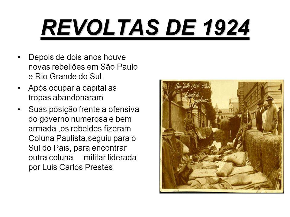 A REVOLTA DO FORTE DE COPACABANA (1922) Tropas fieis ao governo imediatamente cercaram o forte de Copacabana, isolando os rebeldes.Não havia condições