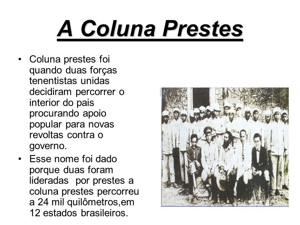 REVOLTAS DE 1924 Depois de dois anos houve novas rebeliões em São Paulo e Rio Grande do Sul. Após ocupar a capital as tropas abandonaram Suas posição