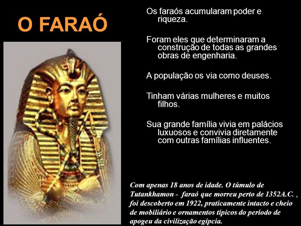 Os faraós acumularam poder e riqueza. Foram eles que determinaram a construção de todas as grandes obras de engenharia. A população os via como deuses