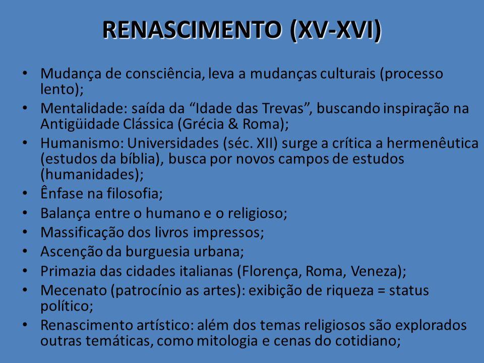 RENASCIMENTO (XV-XVI) Mudança de consciência, leva a mudanças culturais (processo lento); Mentalidade: saída da Idade das Trevas, buscando inspiração na Antigüidade Clássica (Grécia & Roma); Humanismo: Universidades (séc.