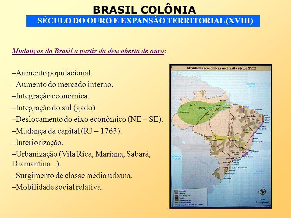 BRASIL COLÔNIA SÉCULO DO OURO E EXPANSÃO TERRITORIAL (XVIII) Mudanças do Brasil a partir da descoberta de ouro: –Aumento populacional.