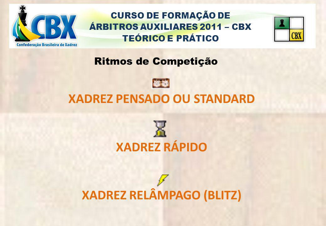 CURSO DE FORMAÇÃO DE ÁRBITROS AUXILIARES 2011 – CBX TEÓRICO E PRÁTICO Xadrez Pensado ou Standard Partidas com ou mais de 60 para cada jogador 60 KO 1h30 KO 2h KO 90 para 40 L/30 KO 1h30/incremento 30<cada lance 75para 40 L/15/incremento 30 2h para 40 L/1h p 20 L /15/30 i<L 61 Xadrez Rápido Partidas de 15 a 59 para cada jogador 59 KO / 30 KO 25 KO / 21 KO 20 KO 25/incremento 10 / 15/ + incremento 6