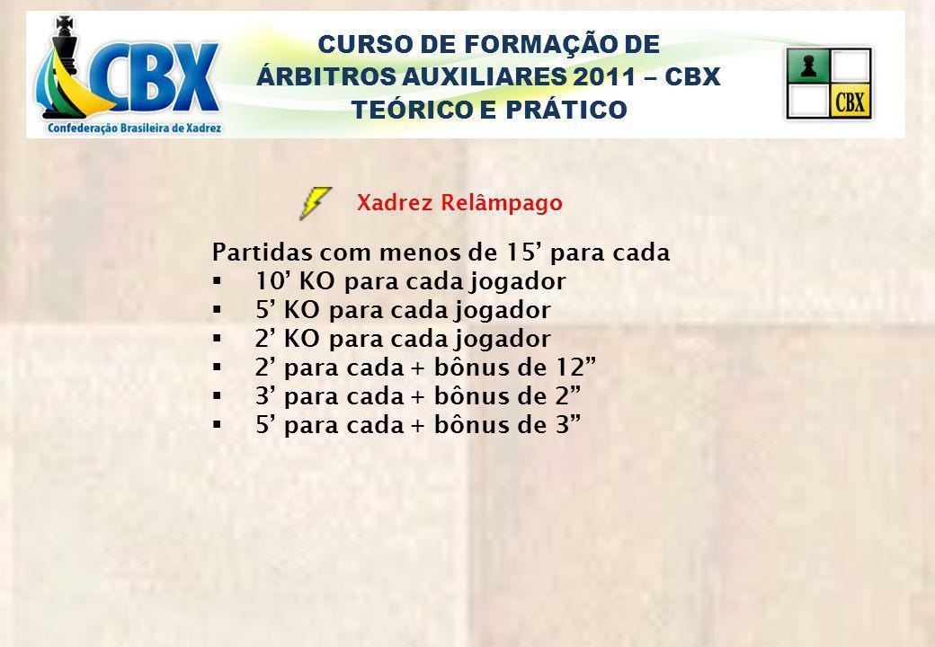 CURSO DE FORMAÇÃO DE ÁRBITROS AUXILIARES 2011 – CBX TEÓRICO E PRÁTICO Xadrez Relâmpago Partidas com menos de 15 para cada 10 KO para cada jogador 5 KO