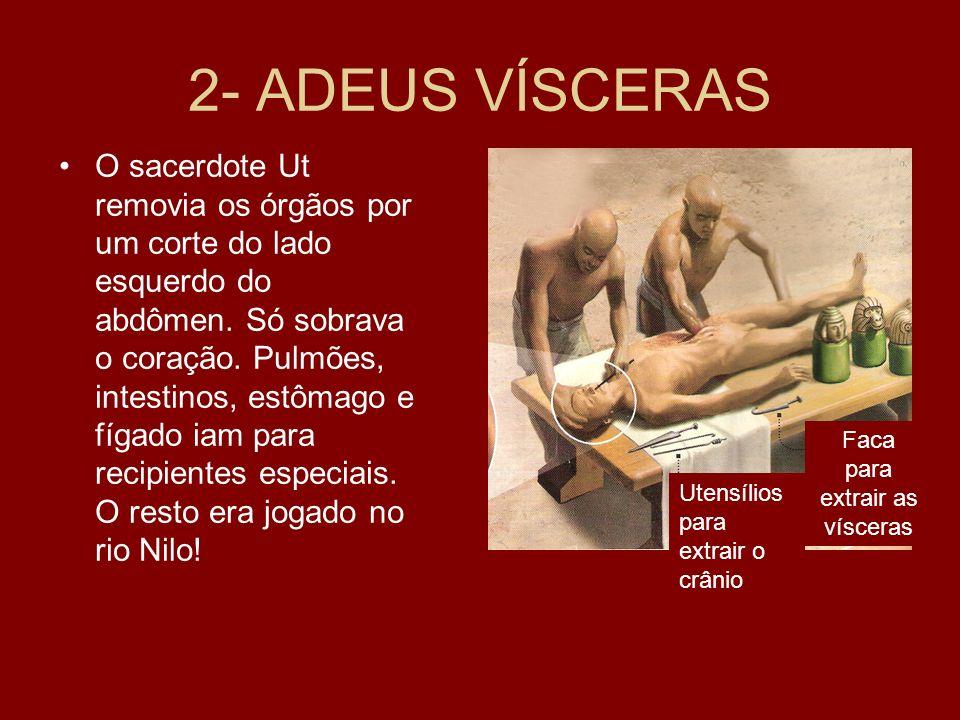 2- ADEUS VÍSCERAS O sacerdote Ut removia os órgãos por um corte do lado esquerdo do abdômen.