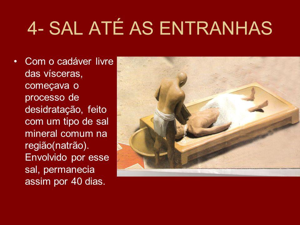 4- SAL ATÉ AS ENTRANHAS Com o cadáver livre das vísceras, começava o processo de desidratação, feito com um tipo de sal mineral comum na região(natrão).