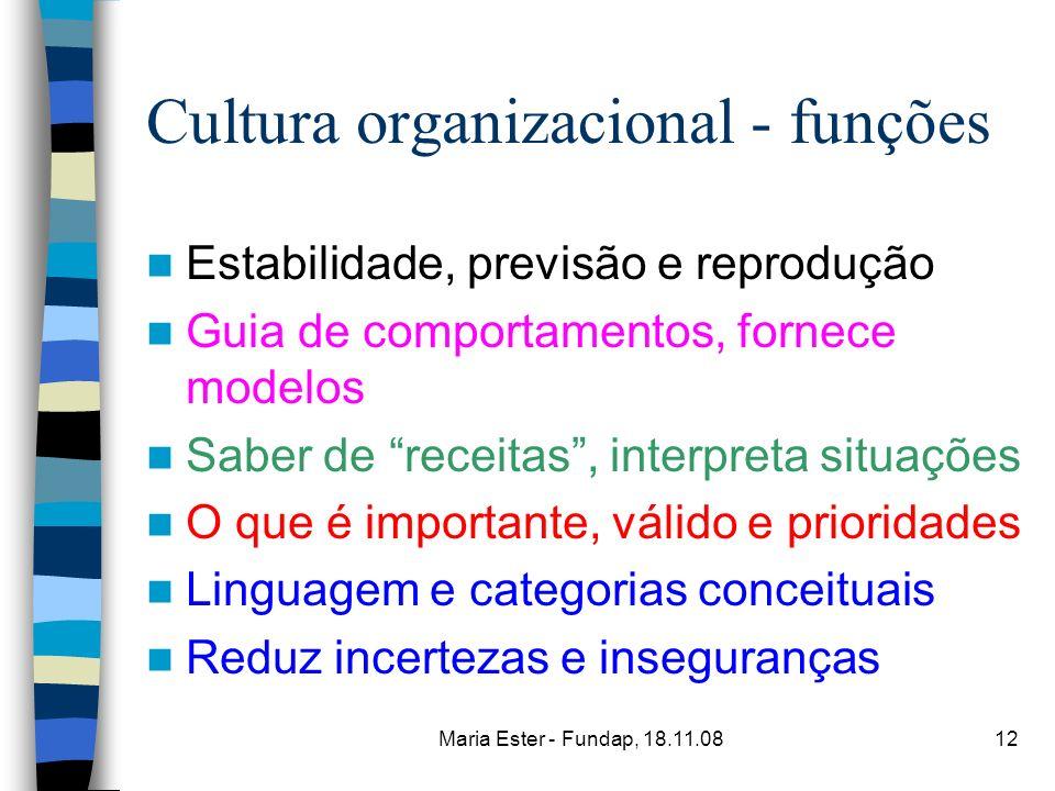 Maria Ester - Fundap, 18.11.0812 Cultura organizacional - funções Estabilidade, previsão e reprodução Guia de comportamentos, fornece modelos Saber de