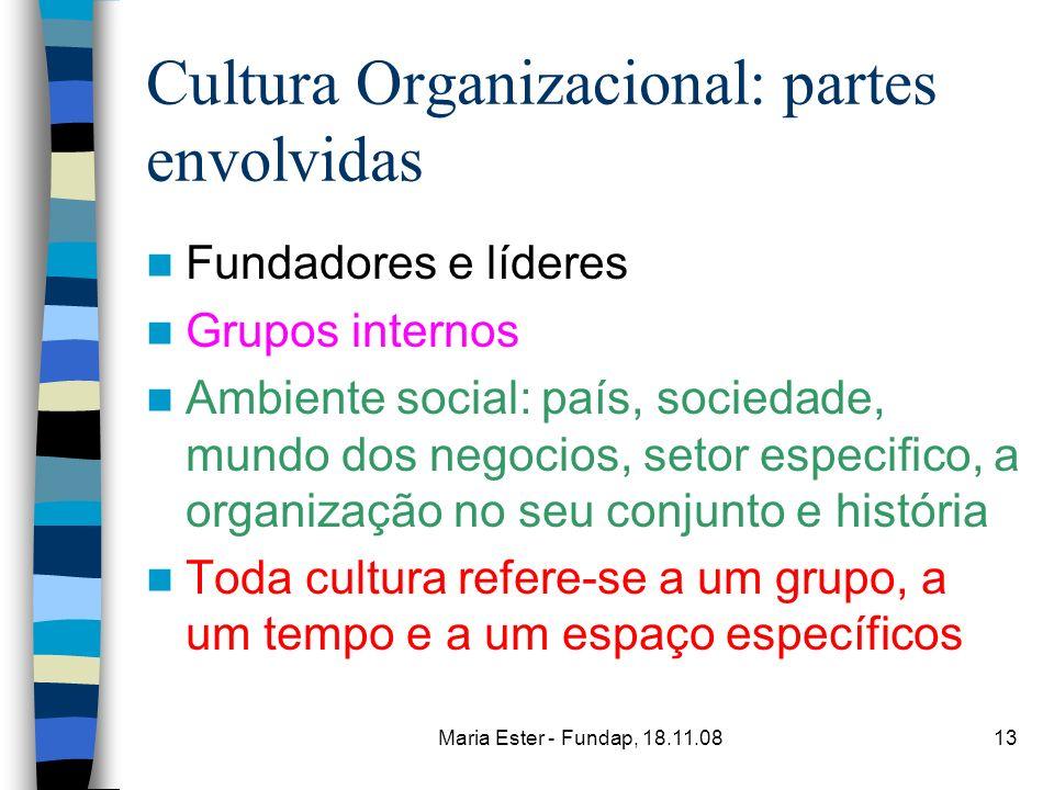Maria Ester - Fundap, 18.11.0813 Cultura Organizacional: partes envolvidas Fundadores e líderes Grupos internos Ambiente social: país, sociedade, mund