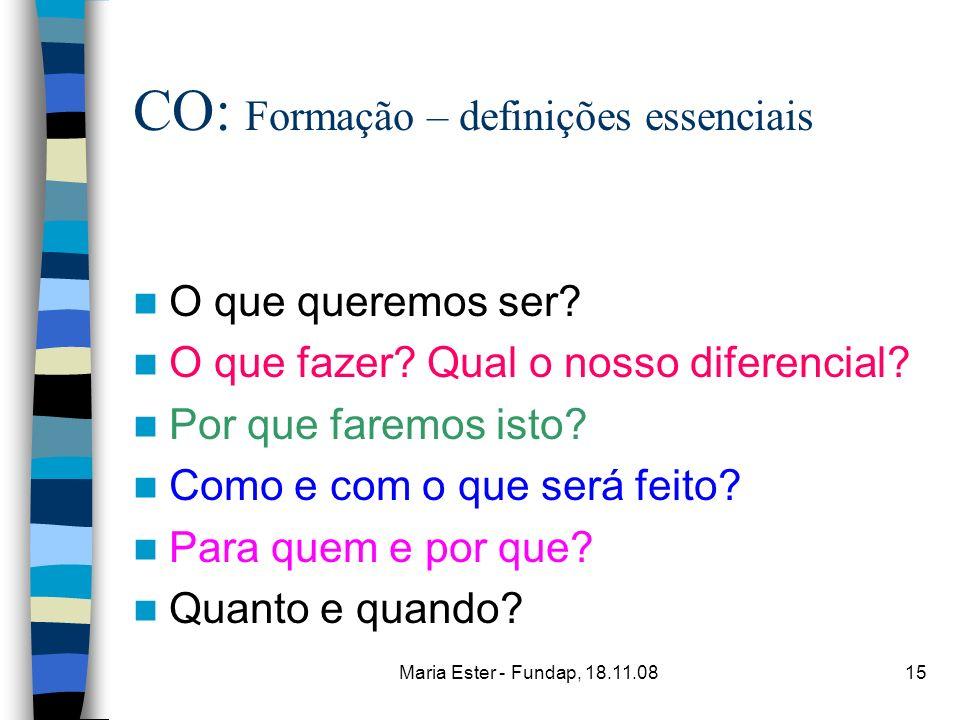 Maria Ester - Fundap, 18.11.0815 CO: Formação – definições essenciais O que queremos ser? O que fazer? Qual o nosso diferencial? Por que faremos isto?