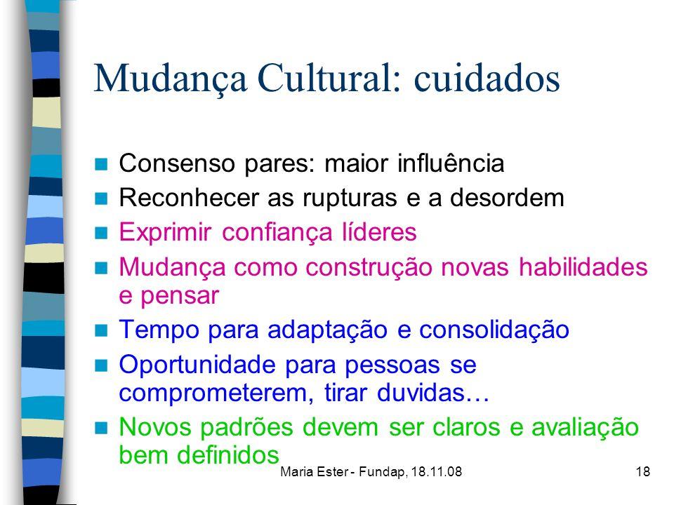 Maria Ester - Fundap, 18.11.0818 Mudança Cultural: cuidados Consenso pares: maior influência Reconhecer as rupturas e a desordem Exprimir confiança lí