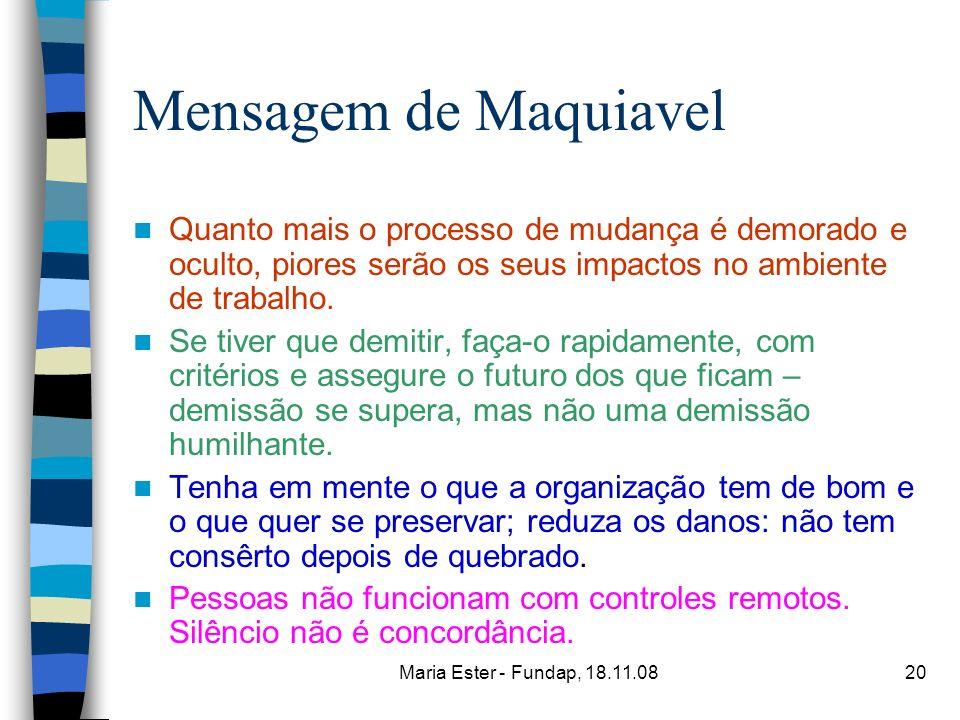 Maria Ester - Fundap, 18.11.0820 Mensagem de Maquiavel Quanto mais o processo de mudança é demorado e oculto, piores serão os seus impactos no ambient