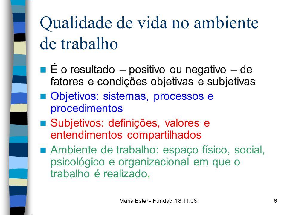 Maria Ester - Fundap, 18.11.086 Qualidade de vida no ambiente de trabalho É o resultado – positivo ou negativo – de fatores e condições objetivas e su