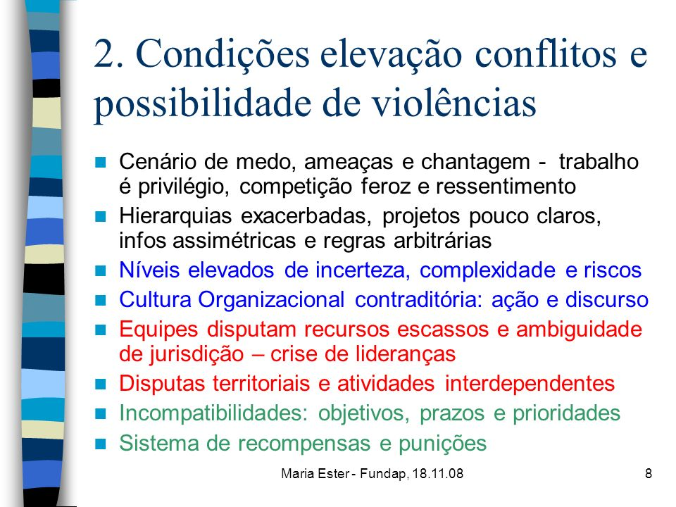 Maria Ester - Fundap, 18.11.088 2. Condições elevação conflitos e possibilidade de violências Cenário de medo, ameaças e chantagem - trabalho é privil