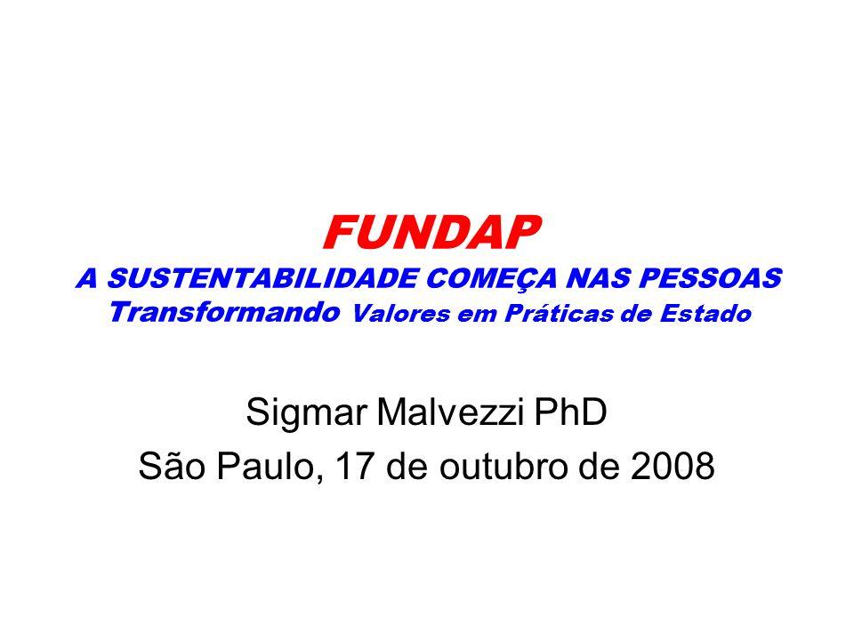 FUNDAP A SUSTENTABILIDADE COMEÇA NAS PESSOAS Transformando Valores em Práticas de Estado Sigmar Malvezzi PhD São Paulo, 17 de outubro de 2008