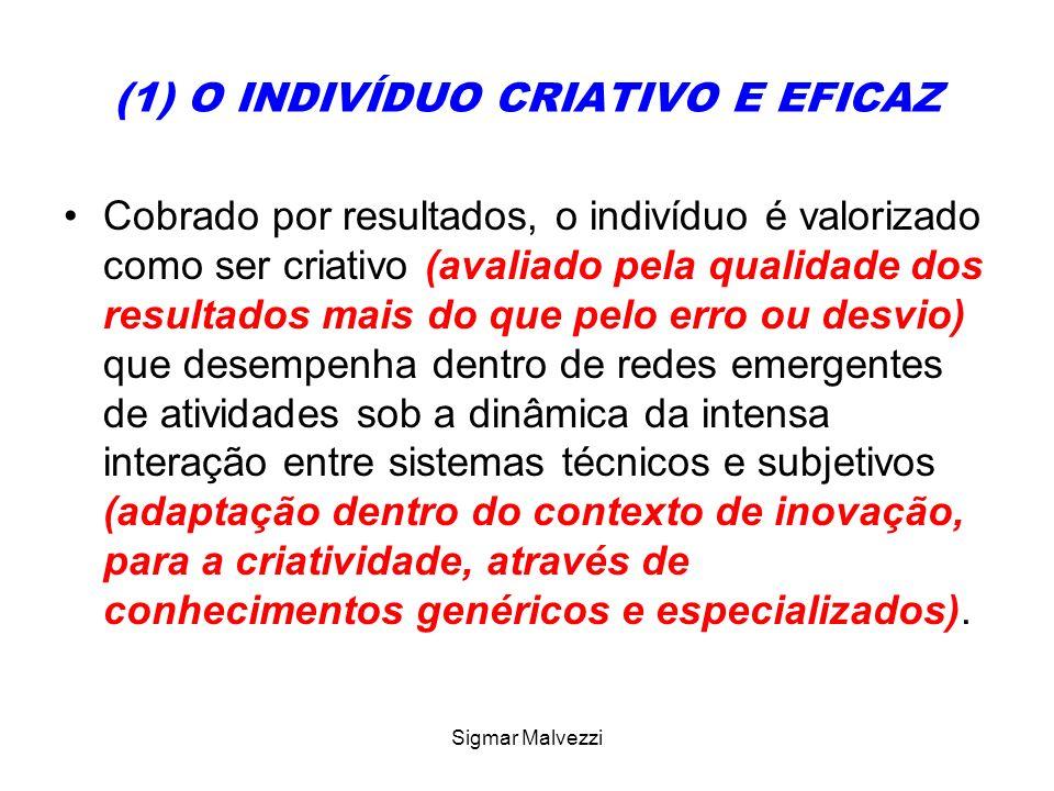 Sigmar Malvezzi (1) O INDIVÍDUO CRIATIVO E EFICAZ Cobrado por resultados, o indivíduo é valorizado como ser criativo (avaliado pela qualidade dos resu