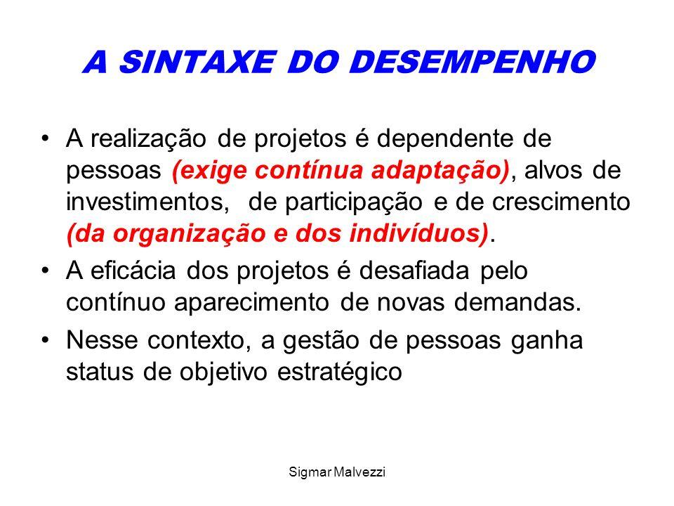 Sigmar Malvezzi A SINTAXE DO DESEMPENHO A realização de projetos é dependente de pessoas (exige contínua adaptação), alvos de investimentos, de partic