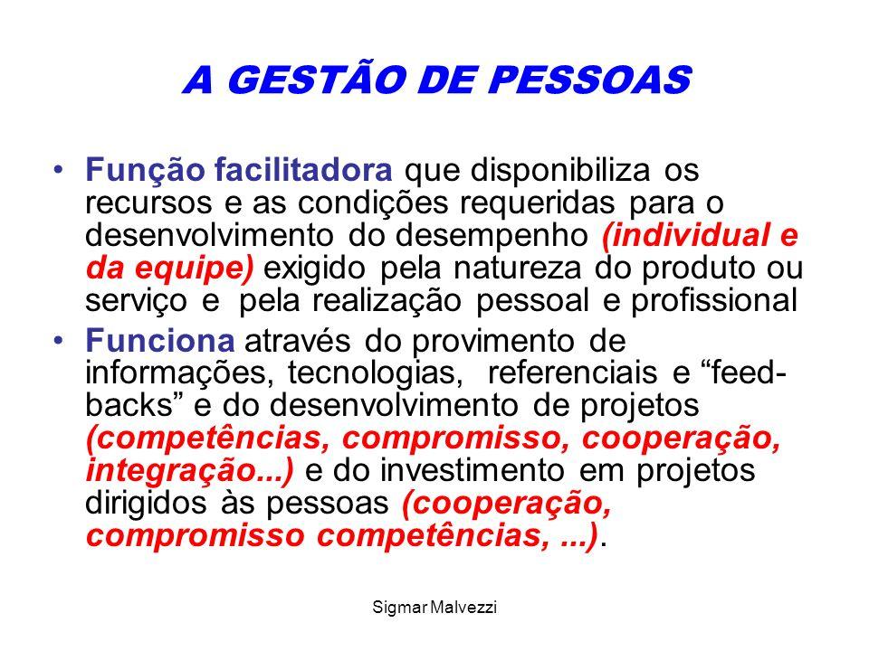 Sigmar Malvezzi A GESTÃO DE PESSOAS Função facilitadora que disponibiliza os recursos e as condições requeridas para o desenvolvimento do desempenho (