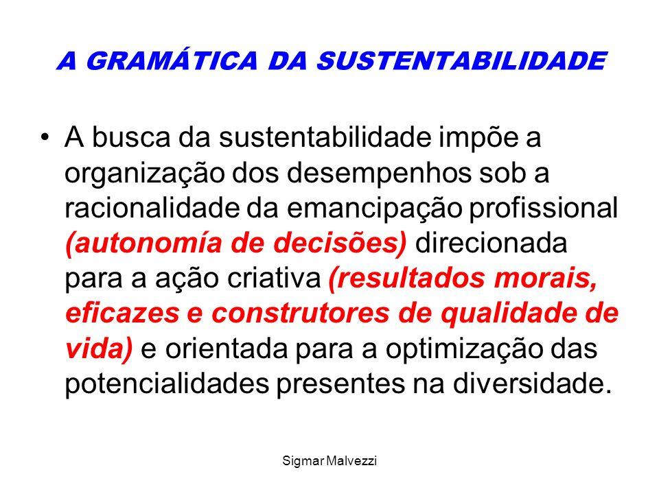 Sigmar Malvezzi A GRAMÁTICA DA SUSTENTABILIDADE A busca da sustentabilidade impõe a organização dos desempenhos sob a racionalidade da emancipação pro