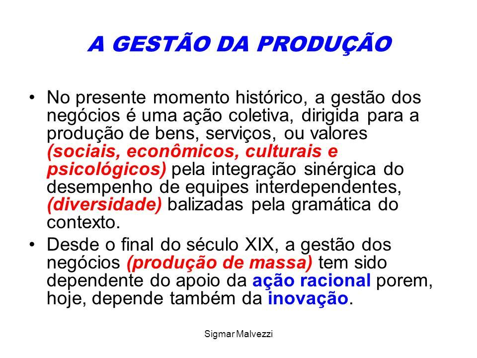 Sigmar Malvezzi A GESTÃO DA PRODUÇÃO No presente momento histórico, a gestão dos negócios é uma ação coletiva, dirigida para a produção de bens, servi